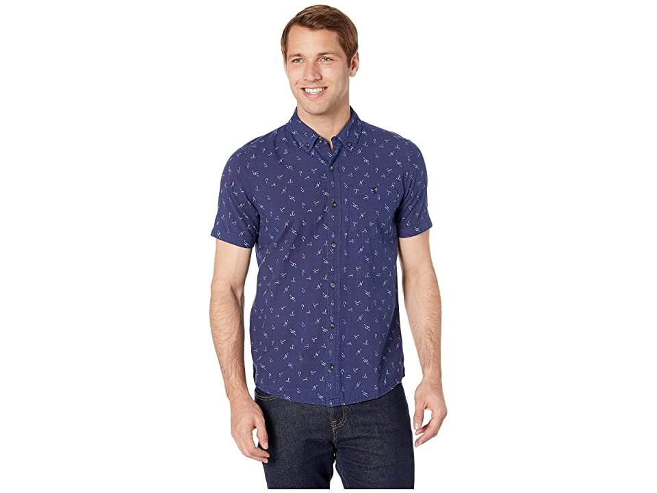 Toad&Co Mattock II Short Sleeve Shirt Slim (Dark Indigo Hook Print) Men