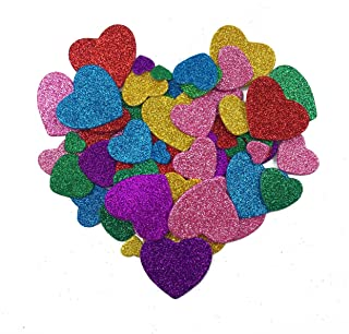 Hyamass 6 Packs (Approx 150pcs) Multicolor Self Adhesive Glitter Heart Foam Stickers (Heart)