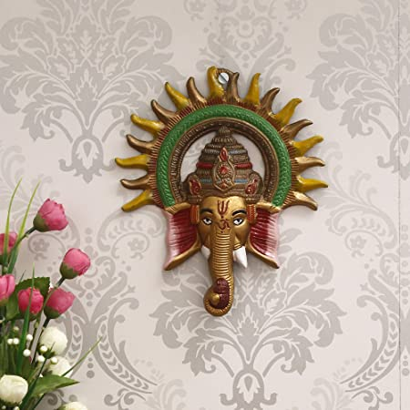 eCraftIndia Colorful Lord Ganesha with Sun Decorative Metal Wall Hanging, Green, Golden and Brown, one Size, AGG560_CLR