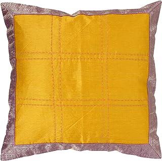 RAJRANG Étnico Cubre Cojines Sofá Floral Amarillo para la decoración