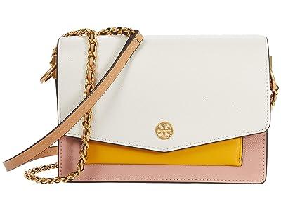 Tory Burch Robinson Color-Block Mini Shoulder Bag (New Ivory/Pink Moon) Handbags