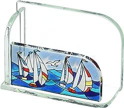 Joan Baker Designs Sailboats Art Glass Business Card Holder