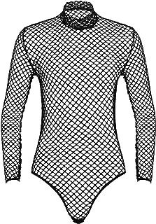 iixpin Men's One Piece Mock Neck Fishnet Bodysuit Long Sleeve Mesh Leotard Tops Party Clubwear
