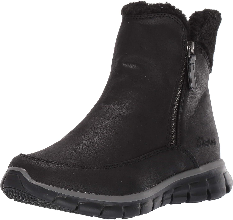 Skechers Women's Synergy-Short Quarter Zipper Boot with Sherpa Trim Snow