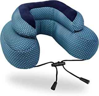 Cabeau Evo Microbead Airplane Travel Neck Pillow - The Best Travel Pillow with Microbeads - 360 Degree Neck Comfort and Chin Support - Blue Plus