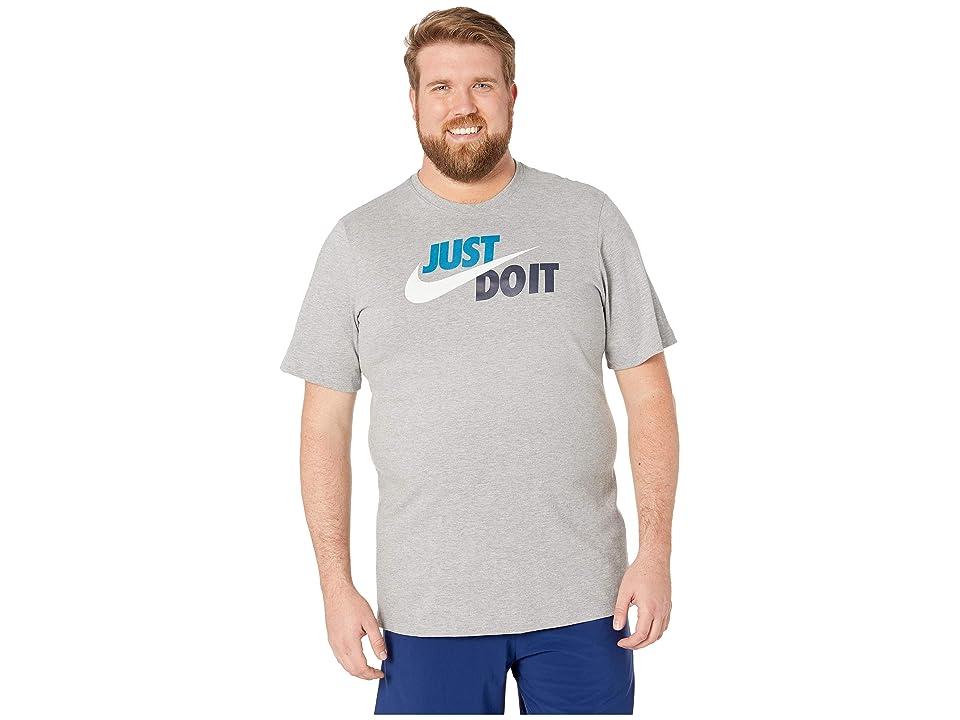 Nike Big Tall NSW Just Do It Swoosh Tee (Dark Grey Heather/Green Abyss/Off-White) Men