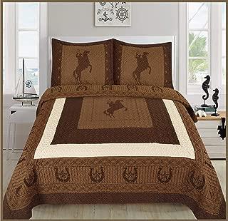 Sapphire Home 3 Piece Queen Size Quilt Bedspread Set w/2 Pillow Shams, Western Design Collection, Wild Horse Country/Horseshoe/Star/Cowboy Design, Queen Western Coffee/Dark Brown/Beige