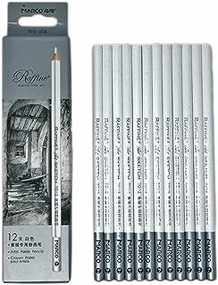 12pcs/pack Artist Charcoal Pencils - Black Color Soft Medium Hard - White Pastel Color - Black Charcoal White Pastel Drawing Pencils (White Pastel)