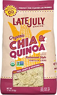 Late July Snacks Restaurant Style Chia & Quinoa Tortilla Chips, 11 Ounce Bag, Pack of 9