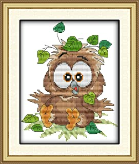 CaptainCrafts Hot New Cross Stitch Kits Needlecrafts Patterns Counted Embroidery Kit - Baby Owl (White)