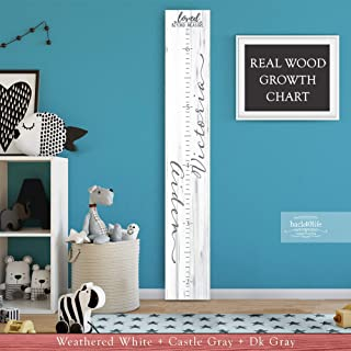 Wooden Kids Growth Height Chart Ruler for Boys and Girls Painted or Engraved with Two Names (The Aiden) Back40Life