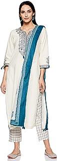 BIBA Women's Rayon Straight Salwar Suit Set