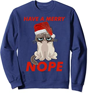 Grumpy Cat Have A Merry Nope Santa Hat Holiday Sweatshirt