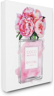 Stupell Industries Glam Perfume Bottle V2 Flower Silver Pink Peony Stretched Canvas Wall Art, Proudly Made in USA