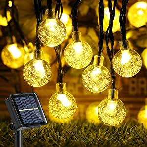 Solar String Lights Outdoor, 36ft 60 LED Crystal Globe Lights with 8 Lighting Modes, Waterproof Solar Patio Lights for Tree, Lawn, Party, Wedding, Garden, Outdoor Decorations (Warm White)