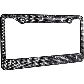 Black+Black Bowknot Carfond Pure Handmade 1000+pcs Premium Waterproof Bling Bling Rhinestones Stainless Steel License Plate Frame Bonus Matching Screws Caps