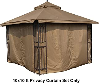 ALISUN Universal 10' x 10' Gazebo Curtain Set for 4 Sides - Brown