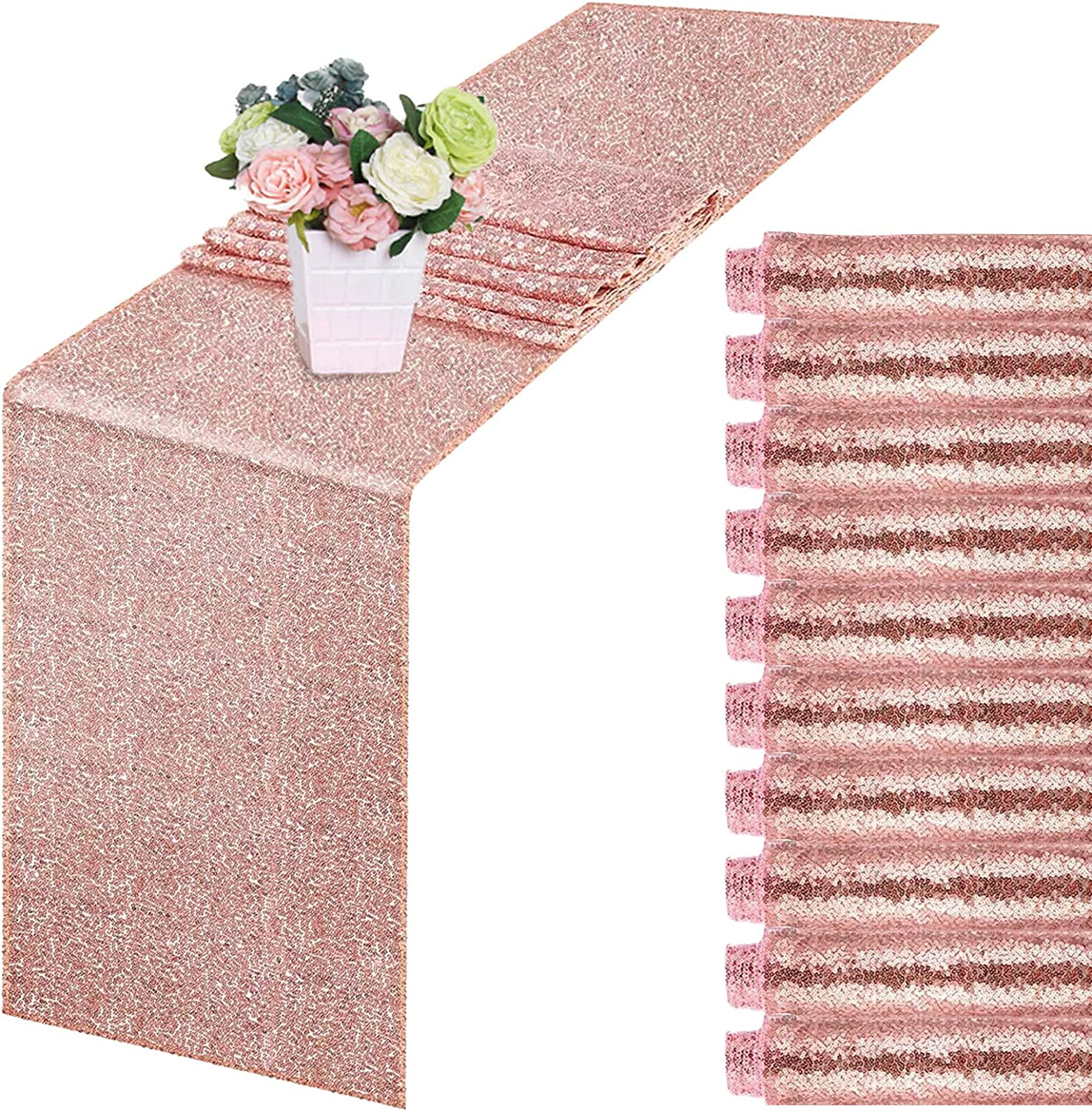 10 Pack Sequin Table Phoenix Mall New Shipping Free Runner Rose Gold- Glitter Ros 108 X 12 Inch