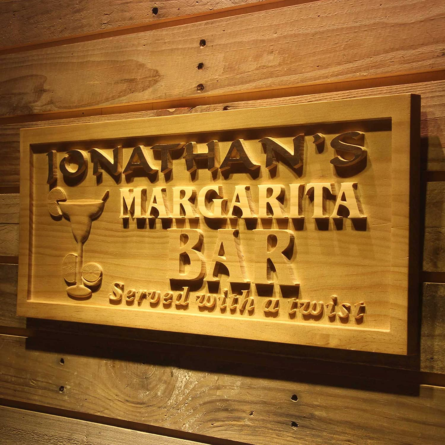 Wpa0203 Name Personalized Margarita Bar Wine Club Wood Engraved Wooden Sign - Standard 23  x 9.25