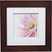 Gallery Solutions Walnut Photo 8x8 Flat Tabletop or Wall Frame with Double White Mat for 5x5 Picture, 8