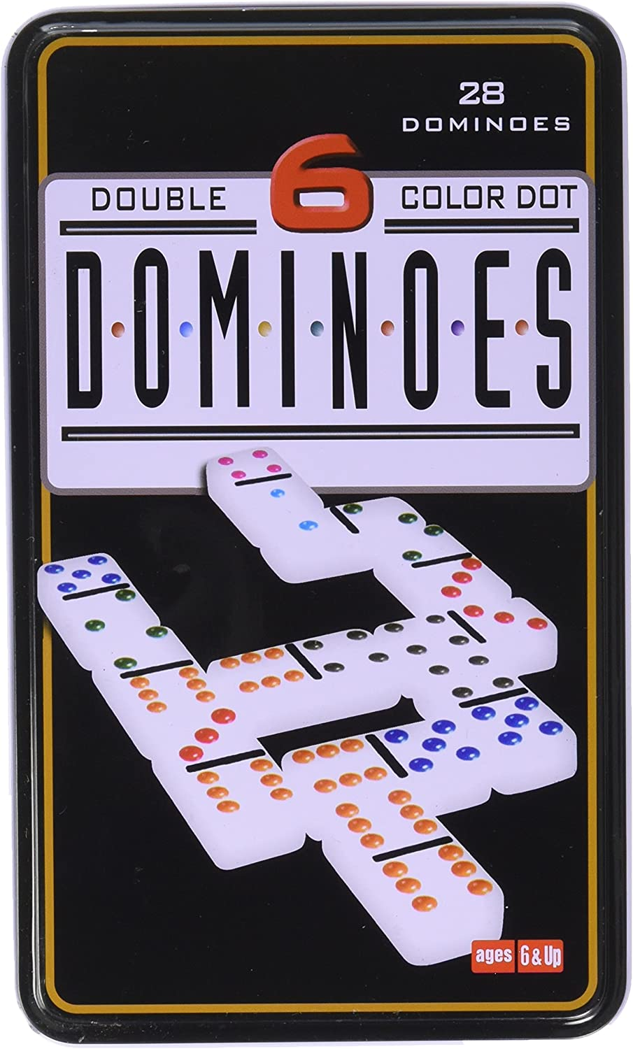 Double 6 Dominoes in Tin Action Game, One color