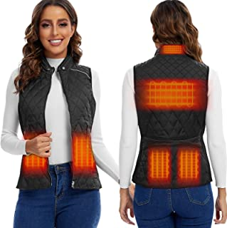 Heated Vest For Women- Stand Collar Quilted Heated Vest Neck Heating Outerwear adjustable (Battery Included 12000mAh )