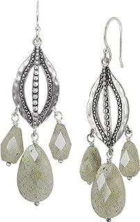 Flora' Natural Labradorite Beaded Chandelier Drop Earrings in Sterling Silver