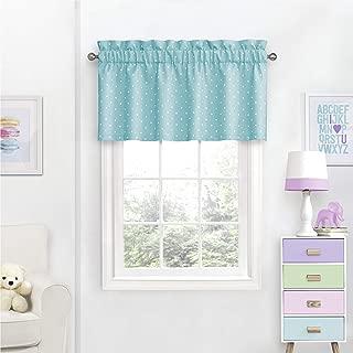 Blue Aqua Polka Dot Window Valance Geometric Dots Printed Window Curtain Valance Topper Solid Color Valance Window Treatment Blackout Shabby Chic Stylish Home Decor Lightweight, Polyester, 42