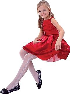 White Patterned Tights 40 Denier Girl/'s Kid/'s Party Hosiery Evka Knittex