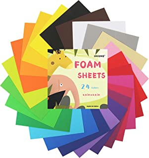 "IMISNO EVA Foam Craft Sheets Paper Pack of 24pcs (24 Colors,9.8""x9.8"",Thickness:0.039"" /1mm)"