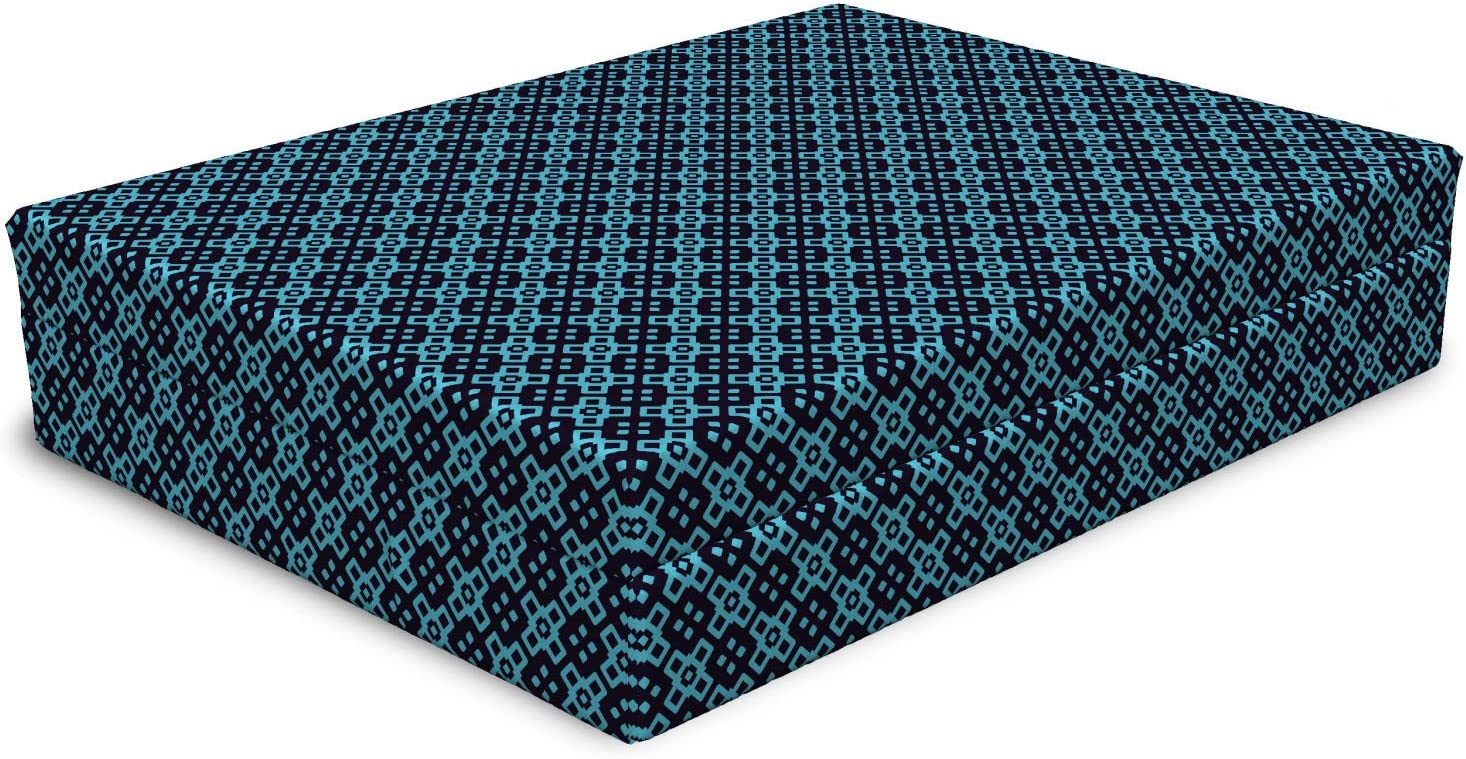 Lunarable Modern Dog Bed Geometrical Squares Bluish Theme Recommendation Easy-to-use Patte