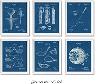 Original Golf Navy Blue Patent Poster Prints, Set of 6 (8x10) Unframed Photos, Great Wall Art Decor Gifts Under 20 for Home, Office, Garage, Man Cave, College Student, Teacher, Coach, Sports & PGA Fan