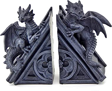 Bellaa 21039 Dragons Bookends Gothic Castle Mystic Book End Evil 8 Inch Tall
