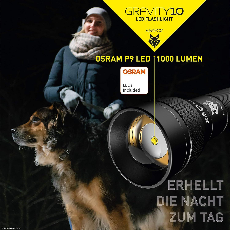 AMAFOX GRAVITY10 LED Taschenlampe 4x AA Batterien dimmbar /& extrem hell mit Zoom inkl 1000 Lumen Flashlight mit original OSRAM P9 LED