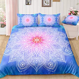 ADASMILE A & S Boho Bedding Sets Luxury Bohemian Duvet Cover Pink and White Mandala Bedding Sets King for Teen Girls Soft ...