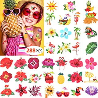 288 Pieces Summer Party Temporary Tattoos Assorted Tropical Luau Tattoo Stickers Hibiscus/Flamingo for Kids Pool Party Favors Beach Party Decoration Supplies