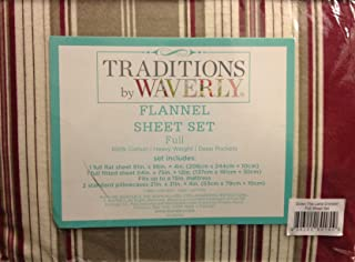 WAVERLY Traditions Down The Lane Crimson 100% Cotton Heavy Weight Deep Pocket Full Flannel Sheet Set