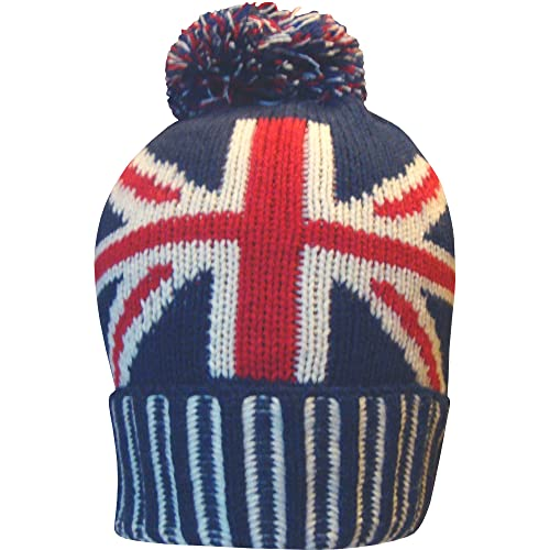 4392fecf566 Men s Great Britain Union Jack Thermal Knitted Winter Beanie Bobble Hat