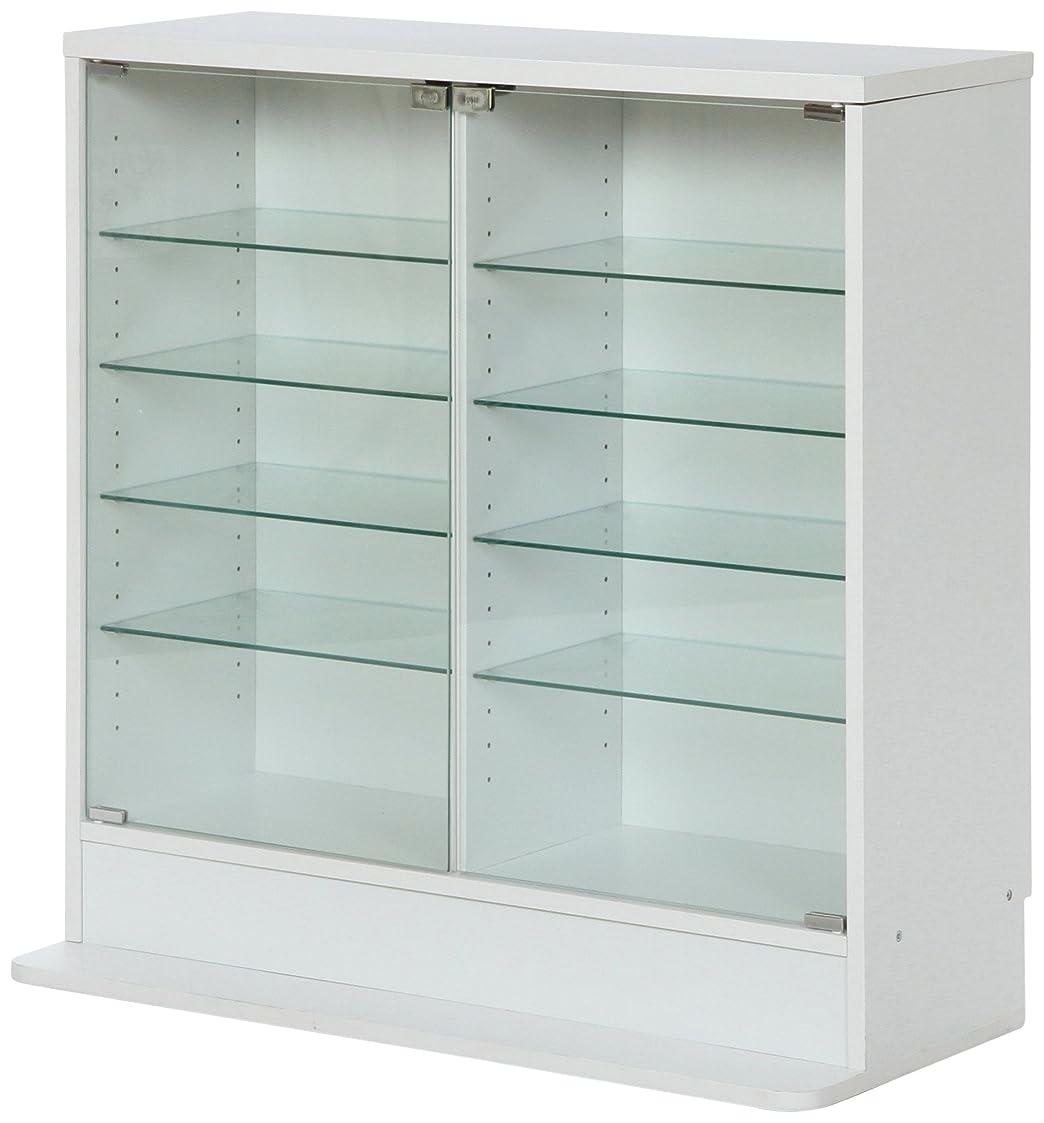 不二貿易 ガラスコレクションケース フィギュアケース 浅型 5段 高さ90cm 強化ガラス ホワイト 96072