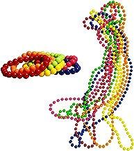 iLoveCos 80s Accesorios de disfraz para Fiestas Neón Custome Neón Collar de Perlas 6 cuentas y 6 Pulseras con Colores Fluorescentes Cuentas Grandes,un tamaño