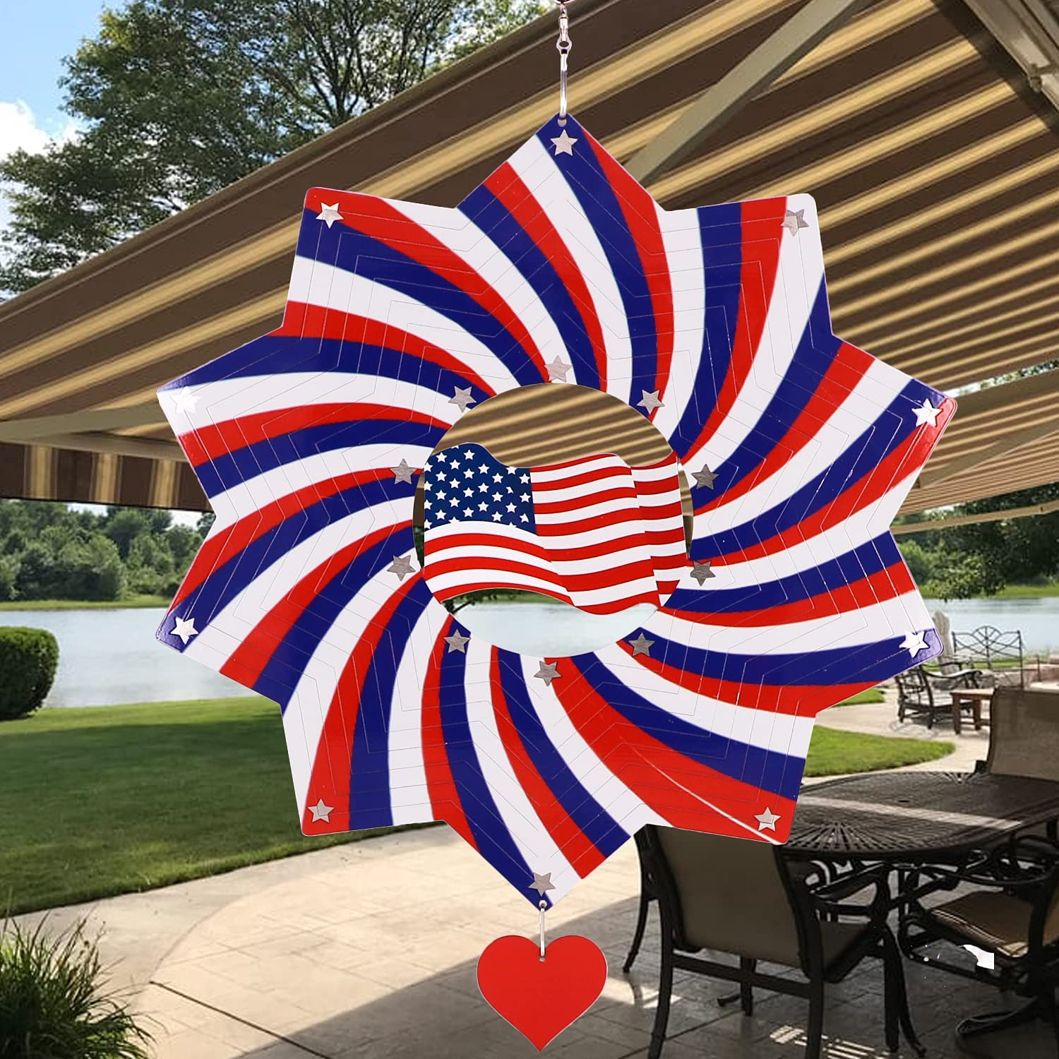 DINHAND Discount mail order American Patriotic Flag Metal Wind Max 77% OFF Outdoor Spinners Sta