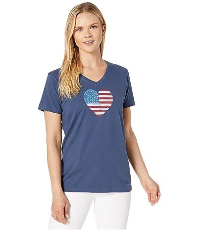 Life is Good Watercolor Flag Heart Crushertm Vee Tee (Darkest Blue) Women