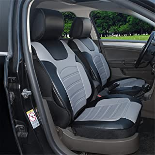Protech Auto 180204S Black/Grey-2 Front Car Seat Cover Cushions Leather Like Vinyl Fit for Toyota Yaris 4 Runner Land Cruiser Rav 4 2020 2019 2018-2007