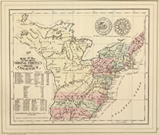 Map Poster - Original Thirteen Colonies. - 24