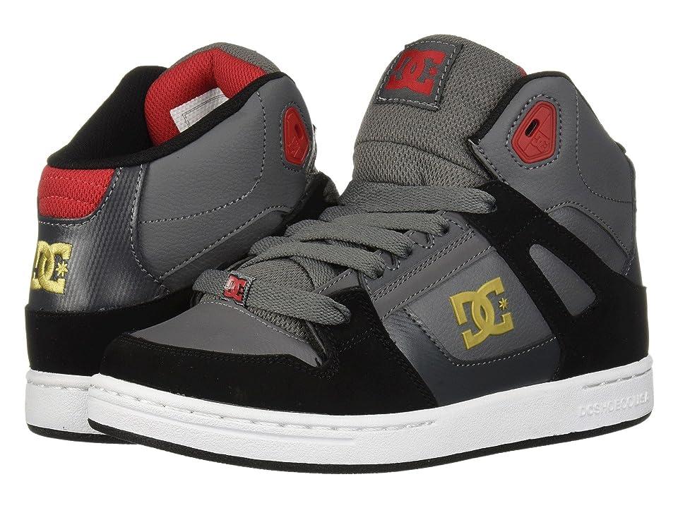 DC Kids Pure High-Top (Little Kid/Big Kid) (Grey/Black/Red) Boys Shoes