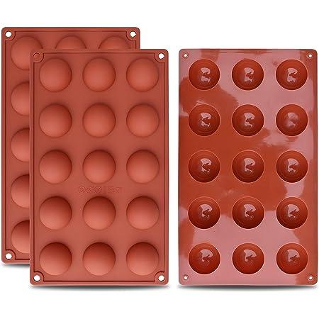 homEdge Petit moule en silicone semi-sphérique de 15 cavités, 3 moules de cuisson pour la fabrication de chocolat, gâteaux, gelée et mousse à dôme