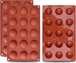 homEdge Small 15-Cavity Semi Sphere Silicone Mold, 3 Packs Baking Mold for Making Chocolate, Cake, Jelly, Dome Mousse