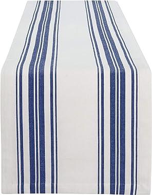 """Elrene Home Fashions Farmhouse Living Homestead Stripe Table Runner, 13"""" x 70"""", Blue/White"""