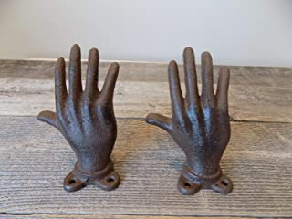 MIDWEST CRAFT HOUSE 2 Cast Iron Hand Ring Holder Jewelry Display Home Decor Paper Weight Book Ends