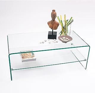 Homely - Mesa de Centro de Cristal Curvado y Templado de una Pieza con revistero Murano - 110x60x40